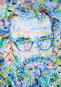 Watercolors Painting Originals - Allen Ginsberg Portrait by Fabrizio Cassetta