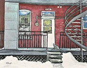 Montreal Buildings Painting Metal Prints - Alley Cat in Verdun Metal Print by Reb Frost