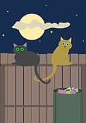 Lovable Digital Art - Alley Cats on a Fence by John Orsbun