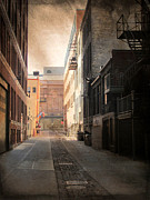 Urban Buildings Prints - Alley Front Street and Grunge Border Print by Anita Burgermeister