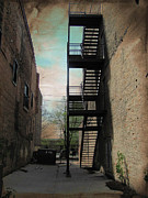 Urban Buildings Prints - Alley with Fire Escape and Grunge Border 1 Print by Anita Burgermeister