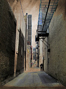 Urban Buildings Prints - Alley with Guy Reading and Grunge Border Print by Anita Burgermeister
