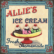 Fresh Green Painting Posters - Allies Ice Cream Poster by Debbie DeWitt