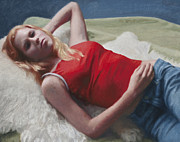 Alluring Paintings - Allison Reclining by Charles Pompilius