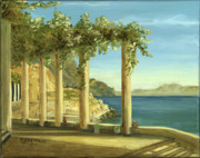 Original Oil On Canvas Posters - Almalfi Coast Balcony Poster by Cecilia  Brendel