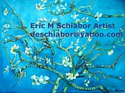 Blossom Drawings Prints - Almond Blossom Branches Print by Eric  Schiabor