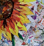 Torn Mixed Media Framed Prints - Almost a Sunflower Framed Print by Marcea Clive