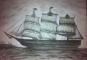 Tall Ship Drawings Prints - Almost in port Print by Brad Miller