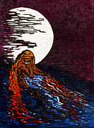 1000 Woodcuts Prints - Aloja Water Woman Print by Maria Arango
