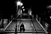 Downtown Stairs Metal Prints - Alone Metal Print by Art Kardashian