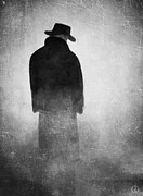 Man Dressed In Black Prints - Alone in the fog 2 Print by Gun Legler