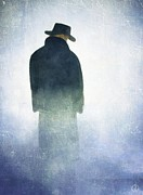 Man With Hat On His Head Art - Alone in the fog by Gun Legler