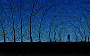 Silhouette Digital Art Prints - Alone in the Forrest Print by Sanely Great