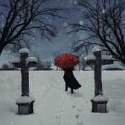 Cemetery Photo Posters - Alone In The Snow Poster by Joana Kruse