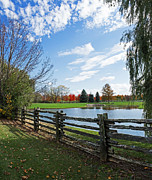 Split Rail Fence Prints - Along a Country Road Print by Barbara McMahon
