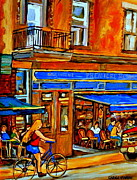 Outdoor Cafe Paintings - Along The Bike Path Blonde Girl Cycles Past Montreal Cafe Scene Memories Of Summertime In The City by Carole Spandau