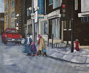 Montreal Stores Painting Prints - Along the Boulevard Print by Reb Frost