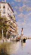Gondolas Paintings - Along the Grand Canal by Rafael Senet