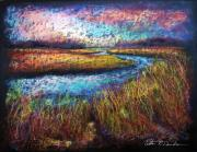 Nj Pastels - Along the Marsh by Peter R Davidson