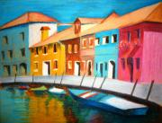 Boats Pastels Prints - Along the Reflections 3 Print by Tanya Anurag