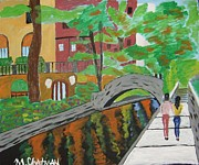 Riverwalk Paintings - Along the Riverwalk by Michael Chatman