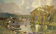 Reflecting Water Paintings - Along the Seine at Meudon by Albert Charles Lebourg