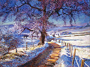 Fences Paintings - Along The Snow Lined Road by David Lloyd Glover