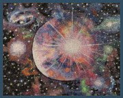 Stars Tapestries - Textiles Posters - Alpaca Fiber Art Project - Solar Light Poster by Dena Kotka