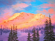 Mountain Climbing Paintings - Alpenglow  by Shasta Eone