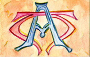 Letter Painting Originals - Alpha and Omega - Study #2 by Elizabeth Briggs