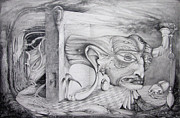 Fantastic Realism Drawings - Alpha And Omega - The Reconstruction Of Bogomils Universe by Otto Rapp