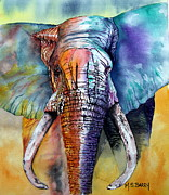 Blue And Orange Elephant Framed Prints - Alpha Framed Print by Maria Barry
