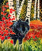 Yellowstone Paintings - Alpha Wolf in Autumn by Harriet Peck Taylor