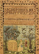 Reproduction Tapestries - Textiles Posters - Alphabet and Landscape Poster by E G Boit