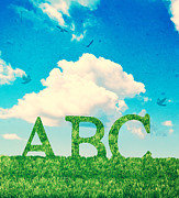 Abc Framed Prints - Alphabet Letters In Grass Framed Print by Christopher and Amanda Elwell