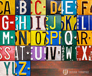 Children Mixed Media Prints - Alphabet License Plate Letters Artwork Print by Design Turnpike