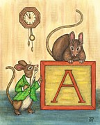 Folk Art Prints - Alphabet Mice Print by Linda Mears