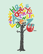 Sloth Framed Prints - Alphabet tree Framed Print by Budi Satria Kwan