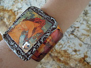 Wiccan Jewelry - Alphonse Mucha Cuff Bracelet by Sherry Sharp