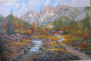 Mountain Cabin Paintings - Alpine Autumn by Mark Perry