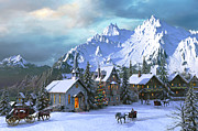 Horse And Carriage Posters - Alpine Christmas Poster by Dominic Davison