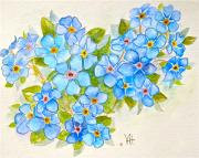 Forget Me Not Paintings - Alpine Forget-Me-Not by Virginia Ann Hemingson