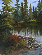 Landscape. Mountain Trees Water Bush Art - Alpine Lake by Bev Finger