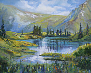 Pond In Park Prints - Alpine Ridge Pond Print by Heather Coen