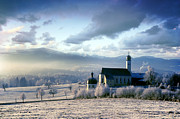 Tourism Art - Alpine scenery with church in the frosty morning by Michal Bednarek