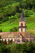 Wine Route Posters - Alsace Church Poster by Brian Jannsen