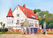 Building Painting Originals - Alt Karlsbad California by Mary Helmreich