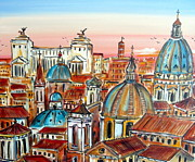 Churches Painting Originals - Altare della Patria in Roma by Roberto Gagliardi