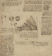 Exploration Drawings Metal Prints - Alteration of annulus without changing its quantity below right study of bird flight from Atlantic Metal Print by Leonardo Da Vinci