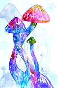 Purple Mushroom Framed Prints - Altered Visions II Framed Print by Beverley Harper Tinsley